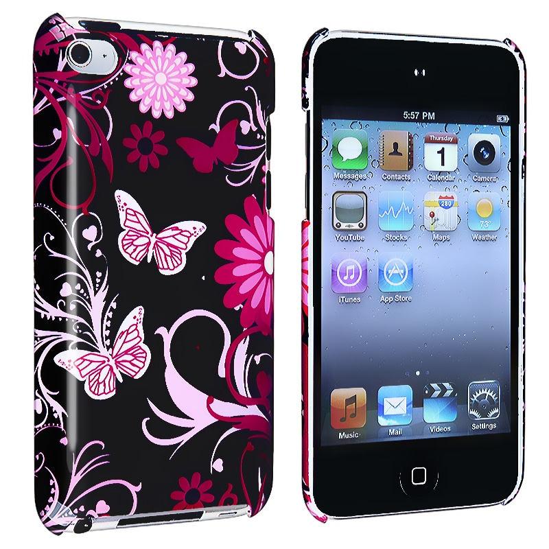 Purple Flower With Butterfly Case for Apple iPod Touch 4th Generation