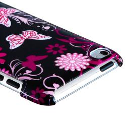 Purple Flower With Butterfly Case for Apple iPod Touch 4th Generation - Thumbnail 1