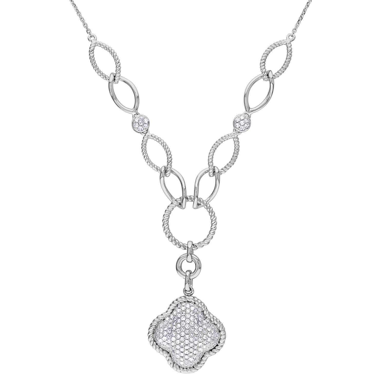 Miadora 14k White Gold 3/4ct TDW Diamond Clover Necklace
