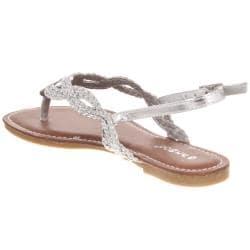 Riverberry Women's 'Morris' Silver Braided Thong Sandal