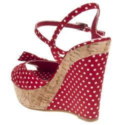 Riverberry Women's 'Mirage' Red Polka Dot Wedge Sandals