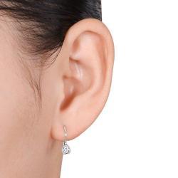 Miadora 10k White Gold 1/4ct TDW Diamond Leverback Earrings (H-I, I2-I3)