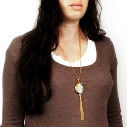 West Coast Jewelry Goldtone Glass Vintage Floral and Tassel Necklace - Thumbnail 2