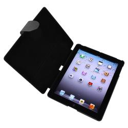 Black Carbon Fiber Stripe Leather Case for Apple iPad 2/ 3