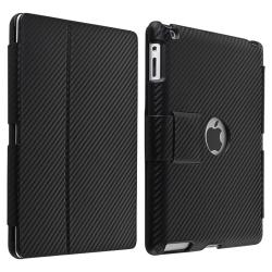 Black Carbon Fiber Stripe Leather Case for Apple iPad 2/ 3 - Thumbnail 2