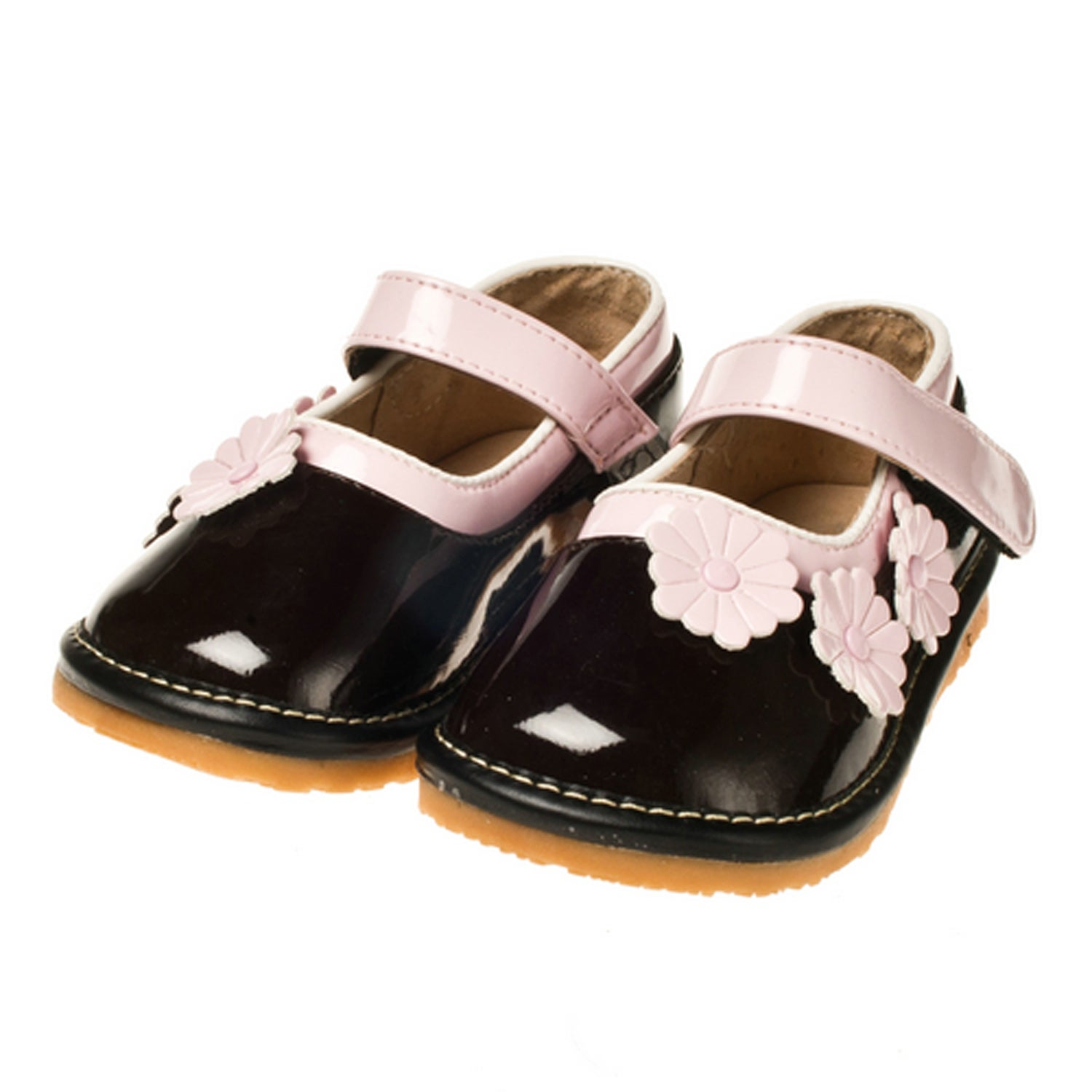 Little Blue Lamb Toddler SQ Series Brown Patent Leather Squeaky Shoes