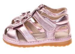 Little Blue Lamb Toddler Girl Metallic Pink Leather Squeaky Sandals - Thumbnail 1