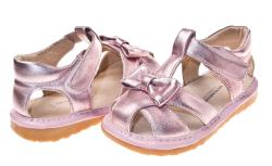 Little Blue Lamb Toddler Girl Metallic Pink Leather Squeaky Sandals - Thumbnail 2