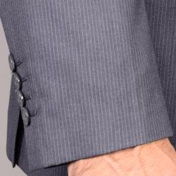 Striped Gray 2-Button Vested 3-piece Suit