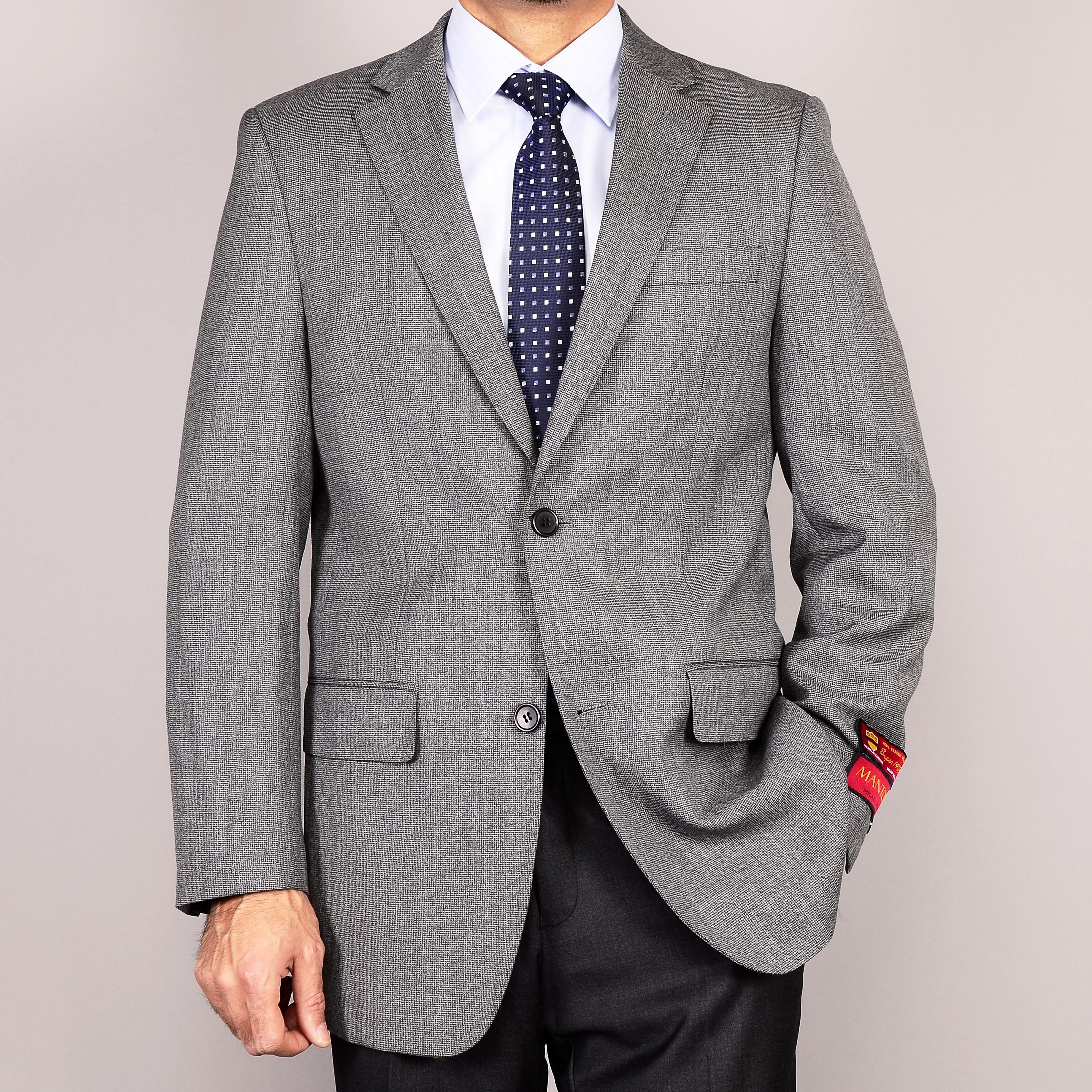Men's Grey 2-Button Wool Sport Coat