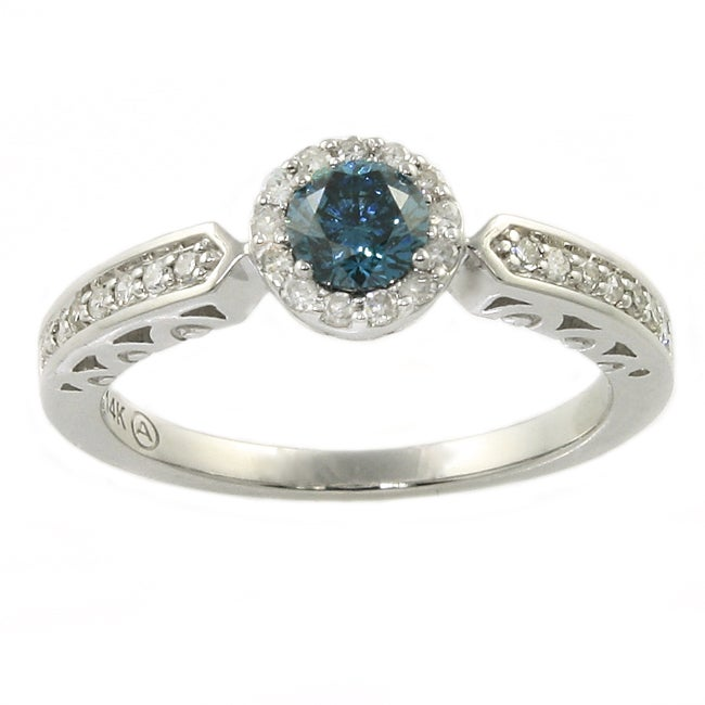 Beverly Hills Charm 14k Gold 1/2ct TDW Blue and White Diamond Ring (H-I, I1-I2)