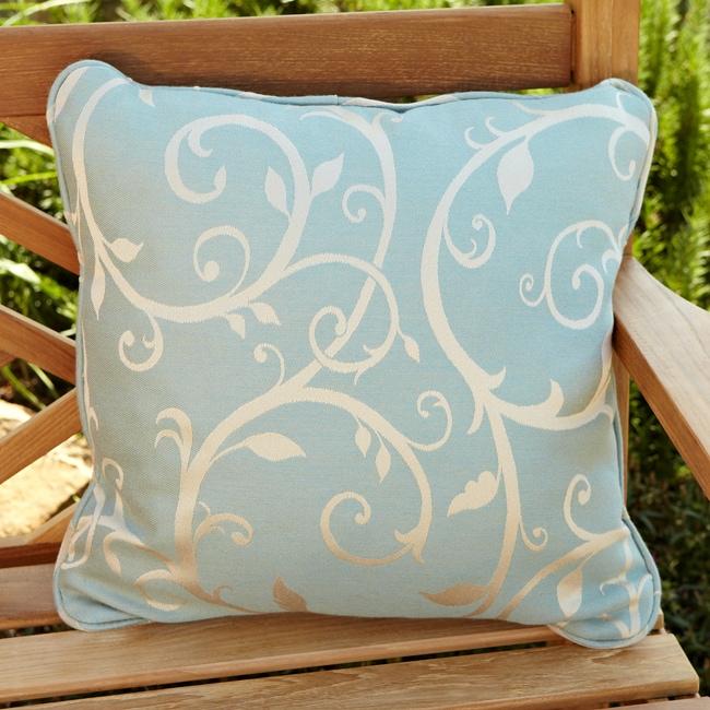Clara Blue/ Beige Swirl 22-inch Square Outdoor Sunbrella Pillows (Set of 2)