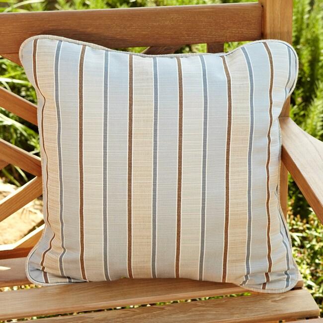 Clara Tan/ Grey Stripe 22-inch Square Outdoor Sunbrella Pillows (Set of 2)
