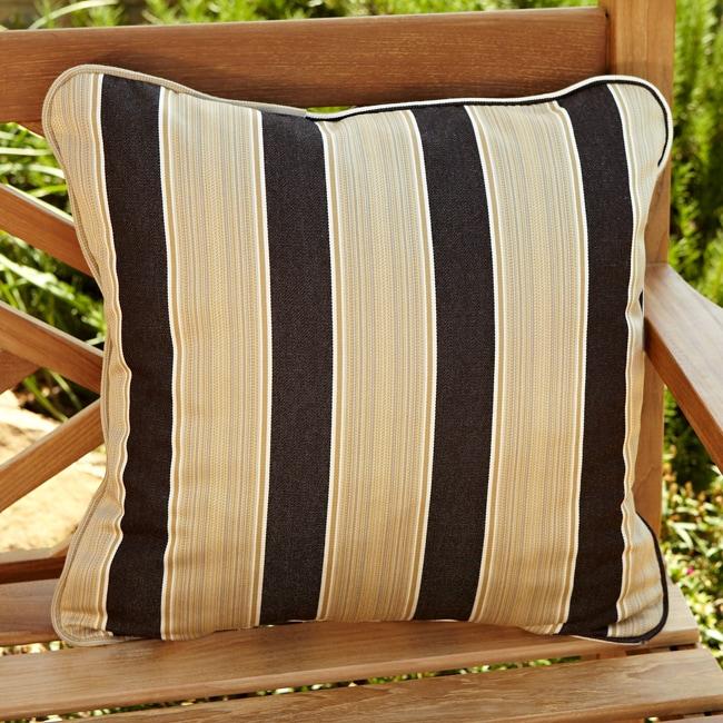 Clara Brown/ Gold Stripe 18-inch Square Outdoor Sunbrella Pillow (Set of 2)