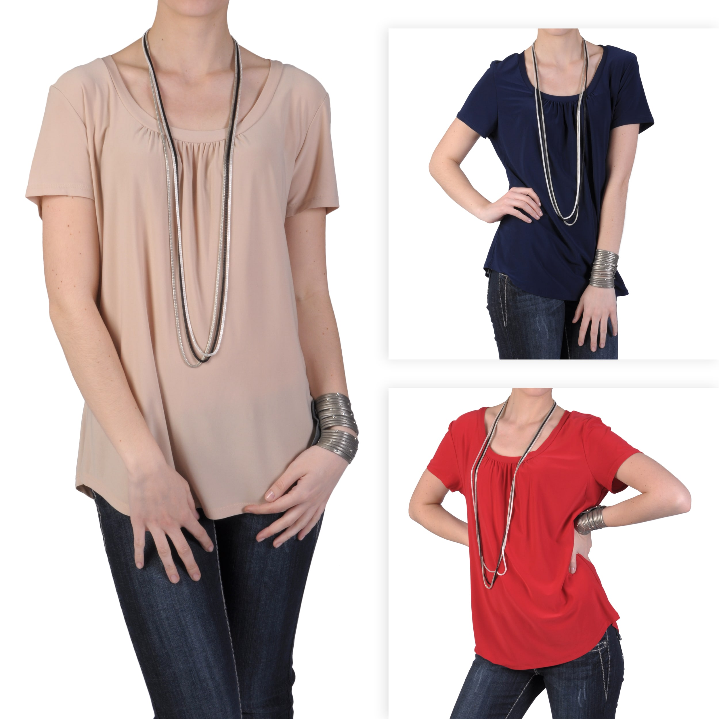 Journee Collection Women's Plus Stretchy Short-sleeve Shirt