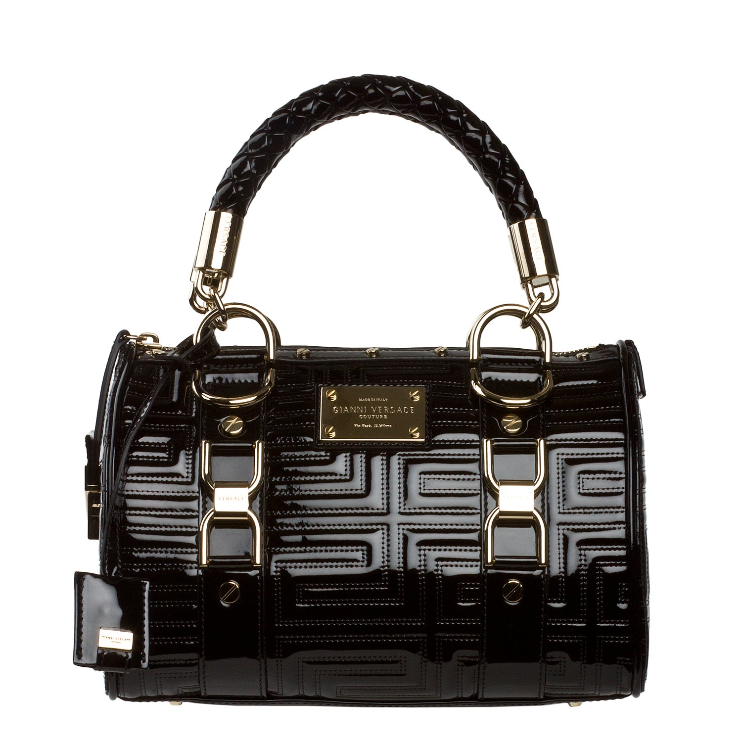 Versace Small Black Patent Leather Satchel