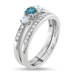 Miadora 14k White Gold 1/2ct TDW Blue and White Diamond Bridal Ring Set (G-H, I1-I2) - Thumbnail 1