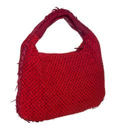 Bottega Veneta Red Leather Cotton Overlay Hobo Bag