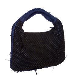 Bottega Veneta Navy-blue Leather Hobo Bag with Cotton Overlay