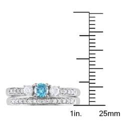 Miadora 14k White Gold 1/2ct TDW Blue and White Diamond Bridal Ring Set (G-H, I1-I2) - Thumbnail 2