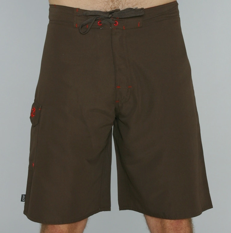 Zonal Men's Brown/ Red Color-block Boardshorts