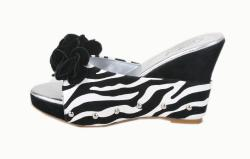 Italina by Beston Women's 'DW1166' Zebra Platform Wedges - Thumbnail 1