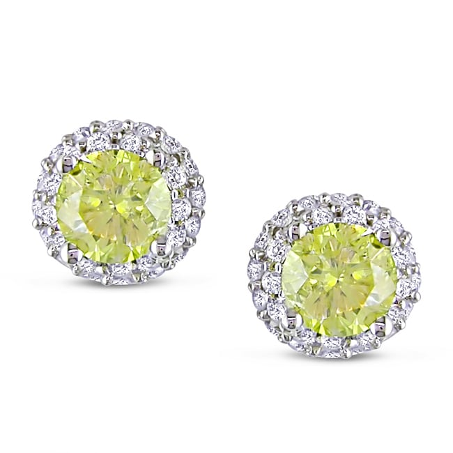 18k White Gold 3/4ct TDW Yellow and White Diamond Halo Earrings(H-I, I1)