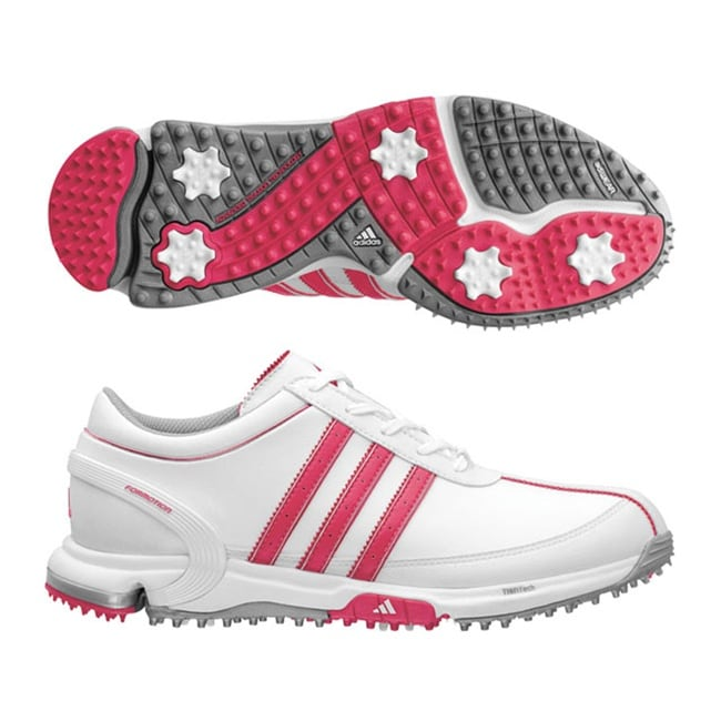 Adidas Women'sTraxion Lite FM White/ Pink Golf Shoes