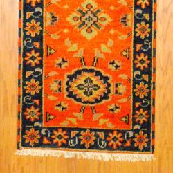 Indo Hand-knotted Kazak Orange/ Navy Wool Rug (2'1 x 6'8)