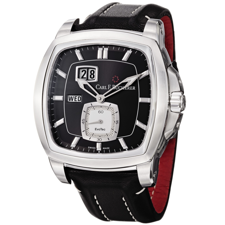 Shop carl f bucherer mens patravi black dial black leather strap watch free shipping today overstock com 6700599