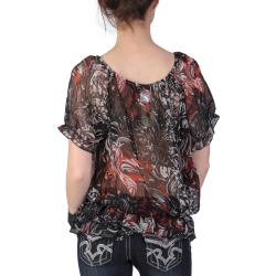 Journee Collection Women's Contemporary Plus Chiffon Peasant Top