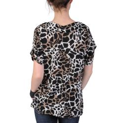 Journee Collection Women's Contemporary Plus Ruched Animal Print Top - Thumbnail 1