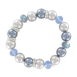 Roman Blue and Grey Faux Pearl and Crystal Stretch Bracelet - Thumbnail 1