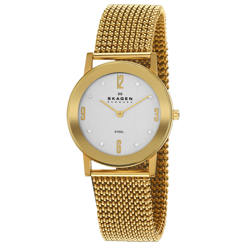 Skagen Women's 'Steel' Goldtone Stretch Mesh Bracelet Quartz Watch