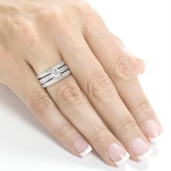 Annello by Kobelli 14k White Gold 1 1/3ct TDW Diamond 3-piece Bridal Ring Set (H-I, I1-I2) - Thumbnail 2