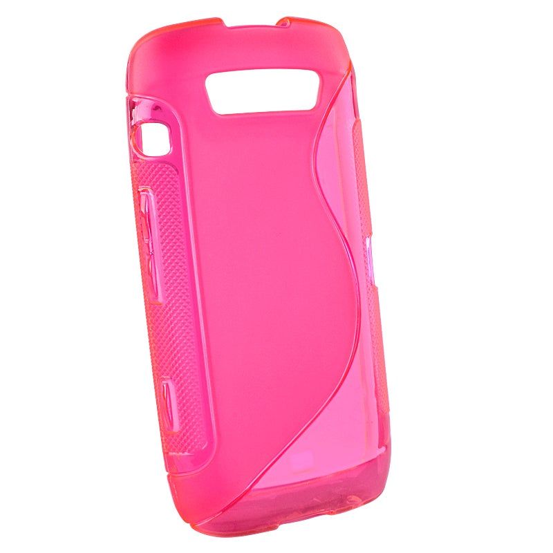 Hot Pink S-Shape TPU Rubber Skin Case for Blackberry Torch 9850/ 9860