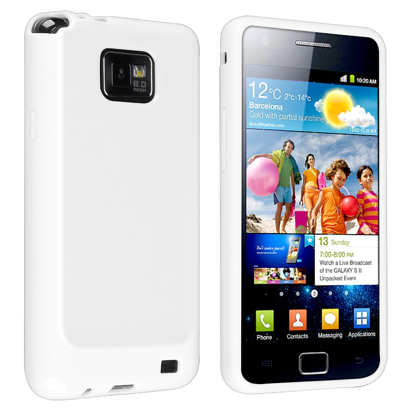 White Jelly TPU Rubber Skin Case for Samsung Galaxy S II i9100