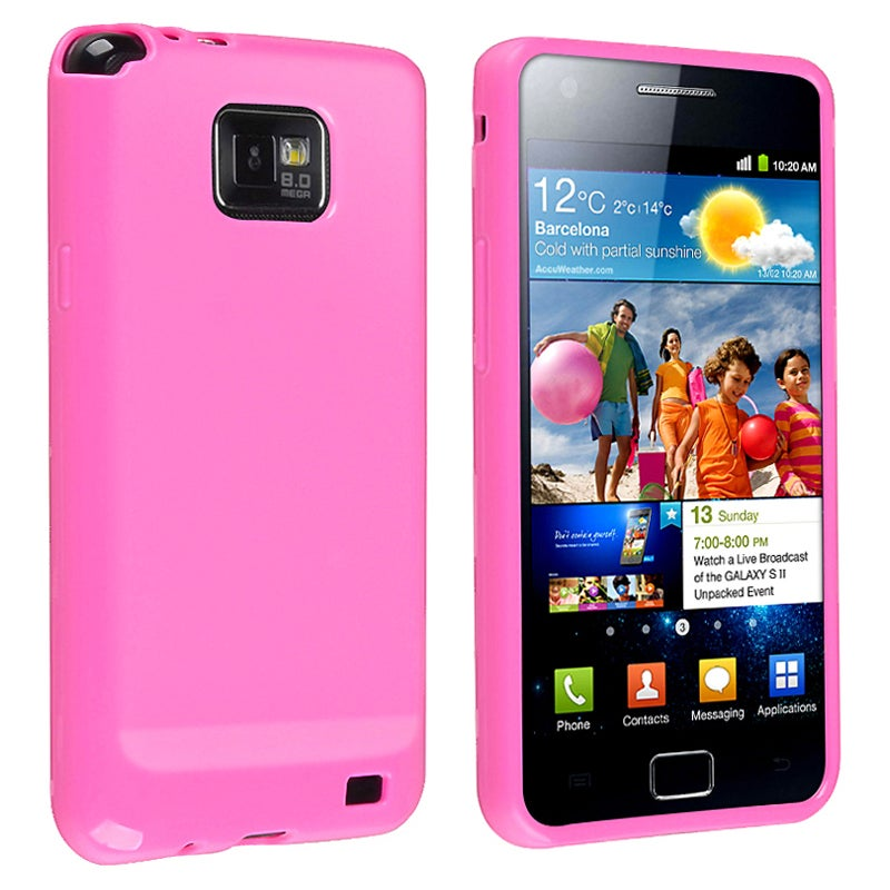 Hot Pink Jelly TPU Rubber Skin Case for Samsung Galaxy S II i9100