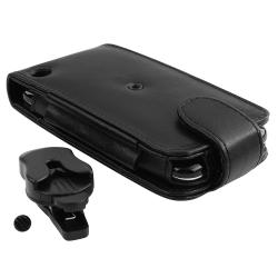 Black Leather Wallet Case with Belt Clip for Apple iPhone 3G/ 3GS - Thumbnail 1