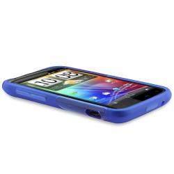 Clear Blue S Shape TPU Rubber Skin Case for HTC Sensation 4G - Thumbnail 2