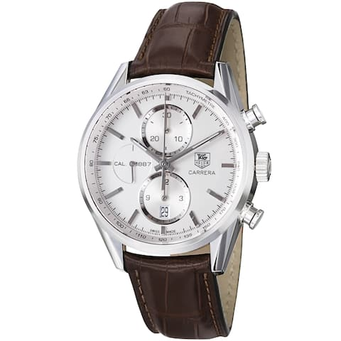 Tag Heuer Men's CAR2111.FC6291 'Carrera' Chronograph Automatic Brown Leather Watch