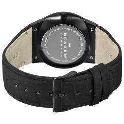 Skagen Men's 'Steel' Black Dial Leather Strap Multifunction Watch