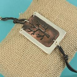 Handcrafted Pewter with Antiqued Copper 'Tree Of Life' Cord Bracelet (India)