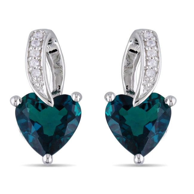 Miadora Sterling Silver 1 1/2ct TGW Created Emerald and Diamond Accent Earrings