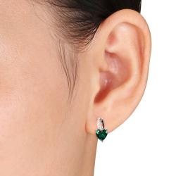 Miadora Sterling Silver 1 1/2ct TGW Created Emerald and Diamond Accent Earrings - Thumbnail 2