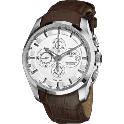 Tissot Men's 'Couturier' White Dial Brown Leather Strap Watch - Thumbnail 0