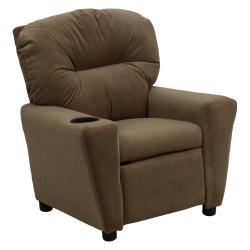 Contemporary Brown Microfiber Kids Recliner with Cup Holder