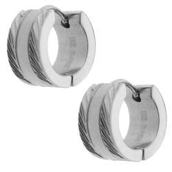 Stainless Steel Diamond-cut Edge Cuff Earrings - Thumbnail 1