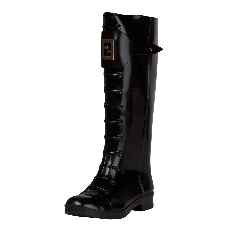 Fendi Women's Black Lace-up Knee-high Rubber Rain Boots