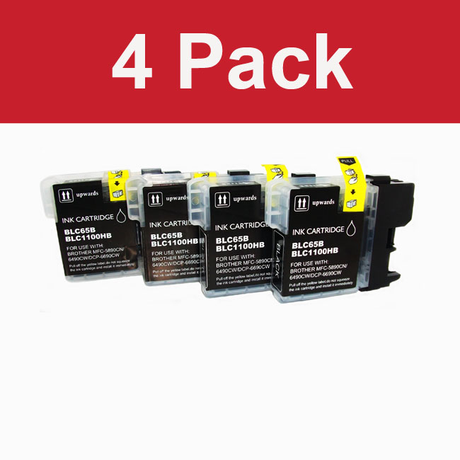 Brother LC 65 High Yield Compatible Black Toner Cartridge (Pack of 4)